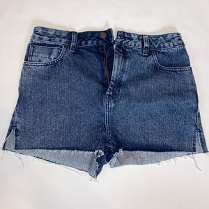 ASOS High Waisted Jean Shorts Raw Edges